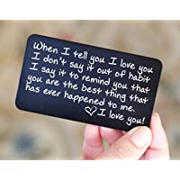 Wallet Card Love Note | Husband Gifts from Wife, Aluminum Anniversary Gifts for Husband | Engraved Boyfriend Gift Idea | Deployment Keepsake | Meaningful, Unique & Romantic Mini Wallet Insert for Men