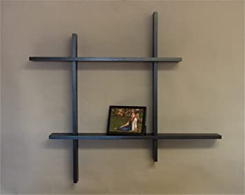 Modern Double Floating Shelf, Black MADE IN USA