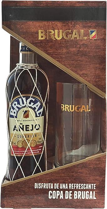 Brugal Añejo Ron y Estuche Vaso, 700ml