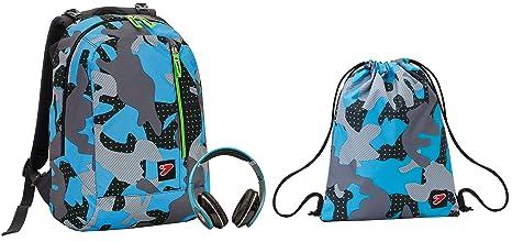 f5467ad16f Zaino SEVEN THE DOUBLE + Soft Bag - COLOR CAMOUFLAGE - Nero Azzurro Grigio  - cuffie