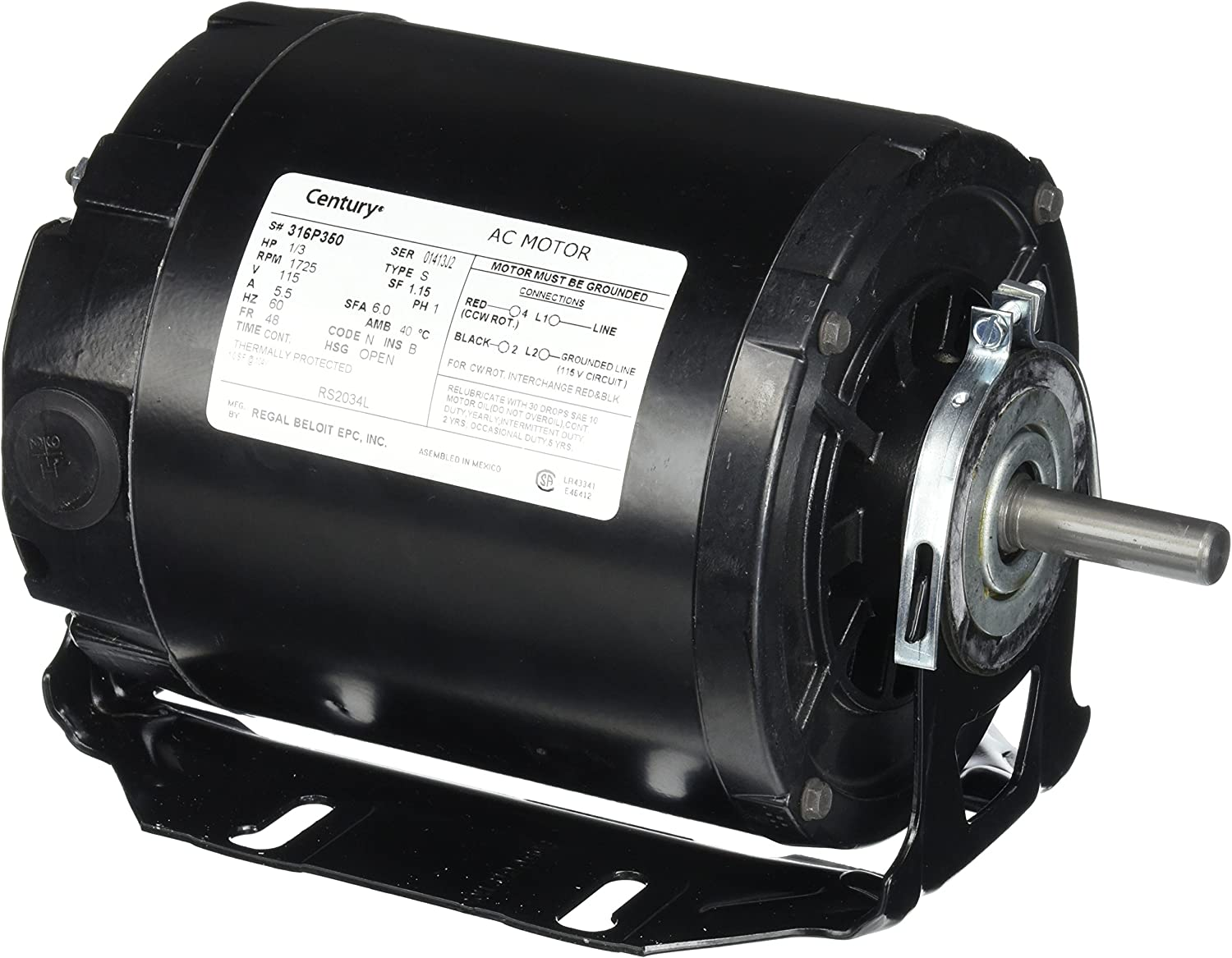 Century RS2034L 1/3 hp 1725 rpm Single Phase Belt Drive with Resilient Mount