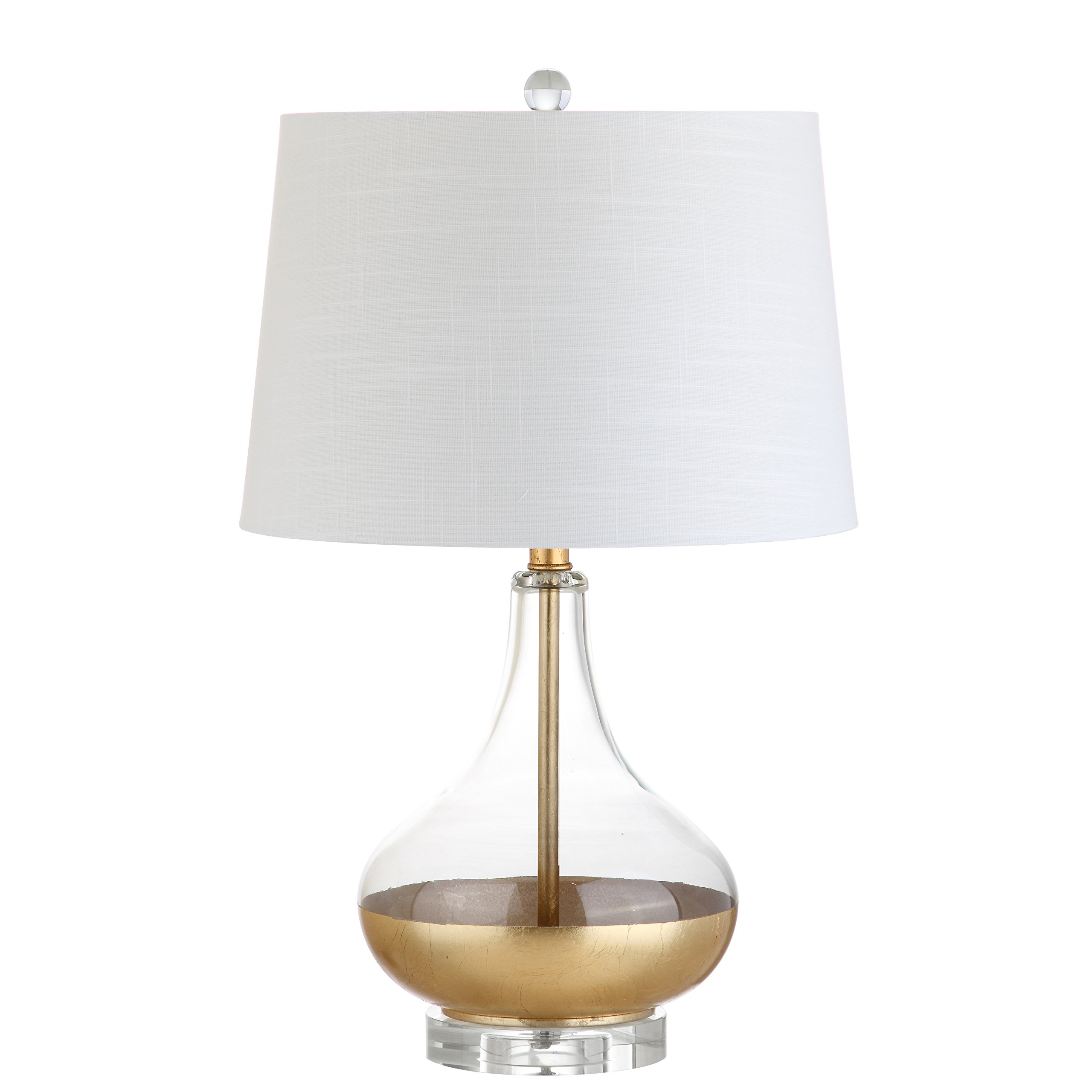 Jonathan Y JYL5007A Table Lamp, 15'' x 24.5'' x 15'', Clear/Gold with White Shade