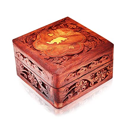 Great Birthday Gift Ideas Handmade Decorative Wooden Jewelry Box Organizer Keepsake Treasure Chest Trinket