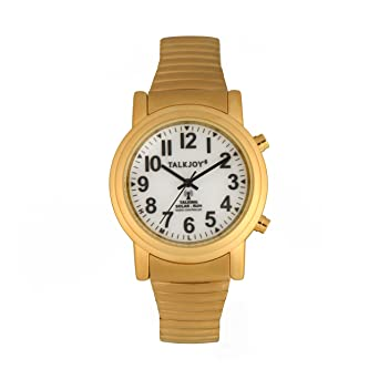 Solar Radio Tiempo de reloj de pulsera parlante Goldene Parlante Reloj Oro ancianos Mujer Hombre Reloj de pulsera calendario Día de la semana Función de Voz ...