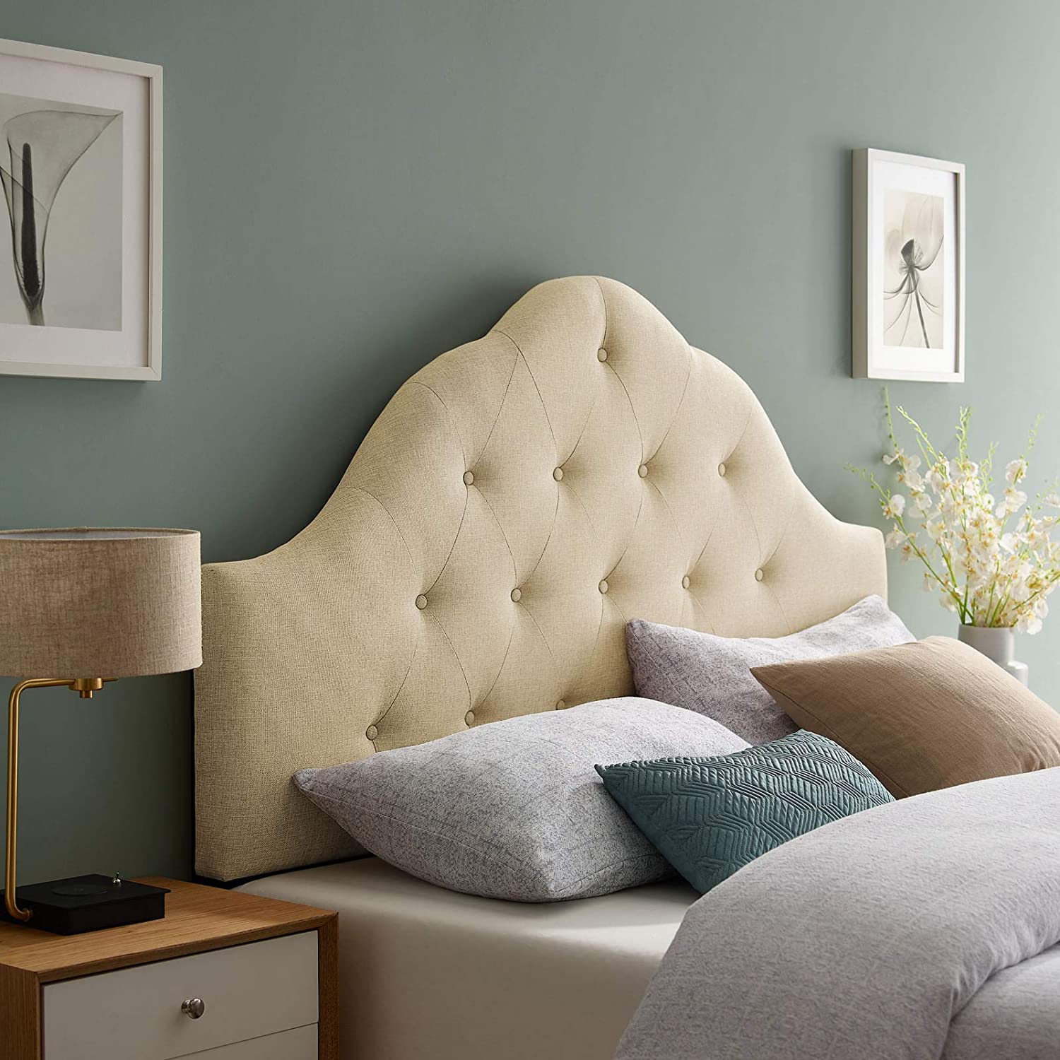 Modway Sovereign Tufted Button Linen Fabric Upholstered Full Headboard in Beige