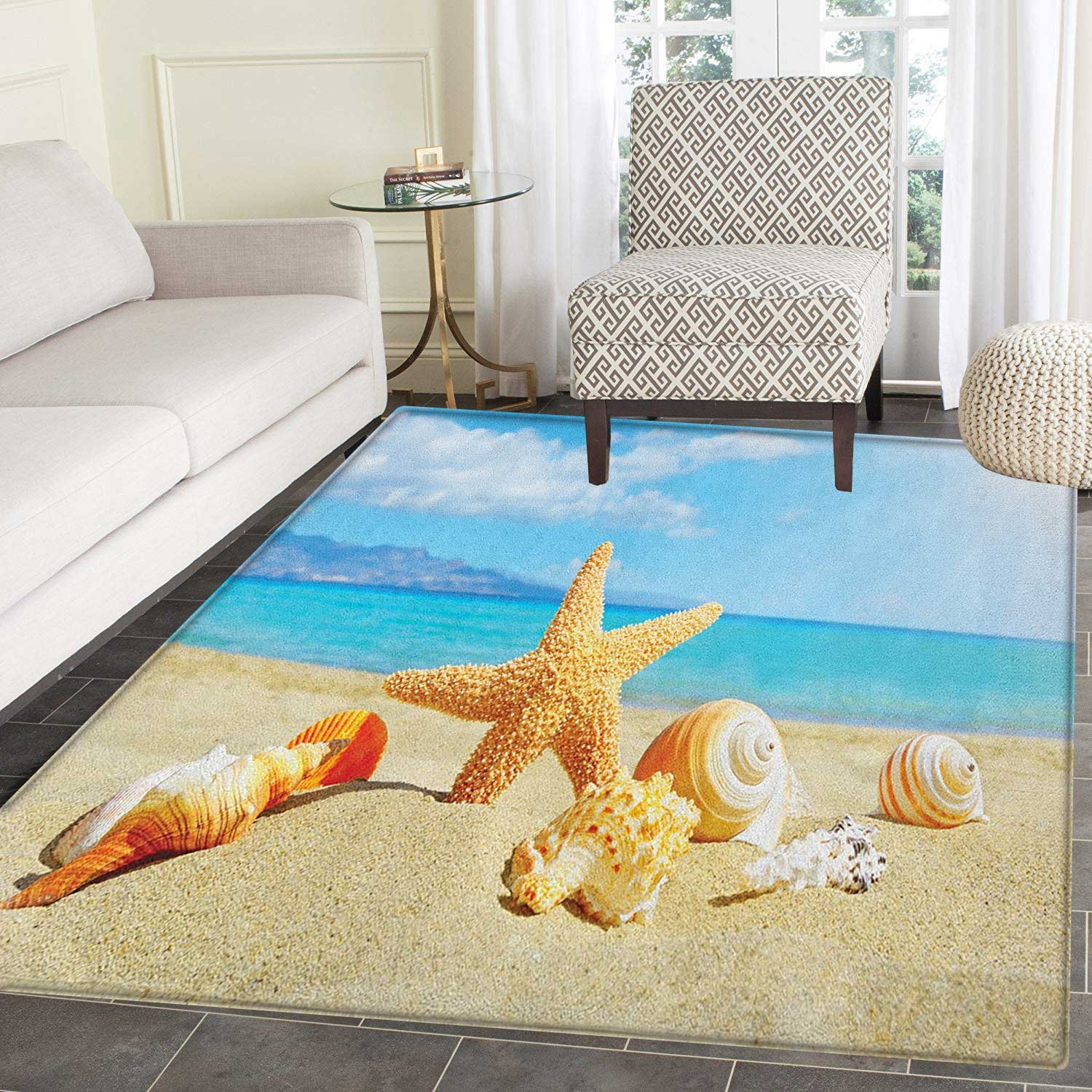 Amazon com seashells rugs for bedroom summer beach theme and sand with rays in the sky clouds seaside marine circle rugs for living room 3x5 aqua ivory