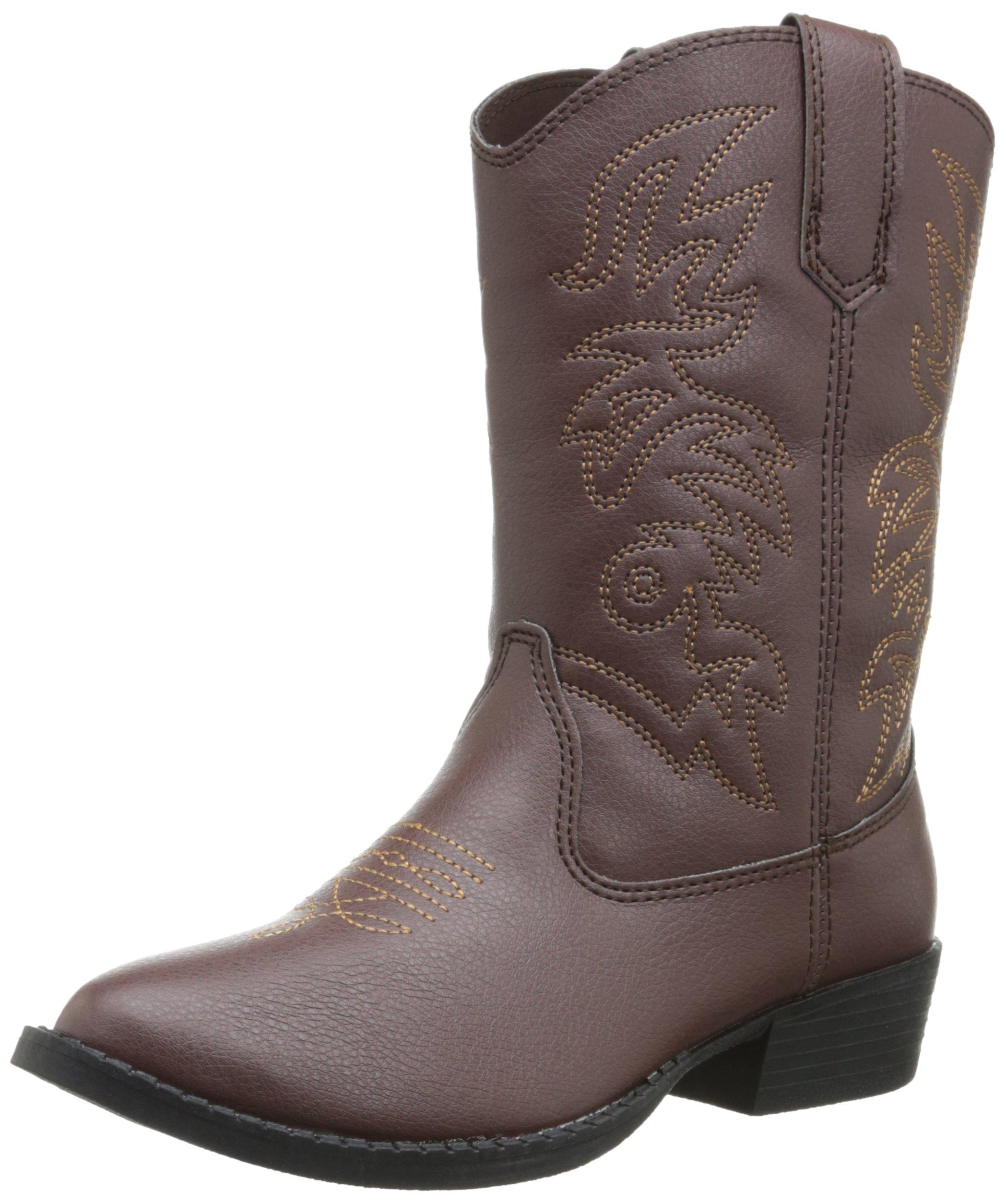 Deer Stags Ranch Kids Cowboy Boot (Toddler/Little Kid/Big Kid), Dark Brown, 5 M US Big Kid
