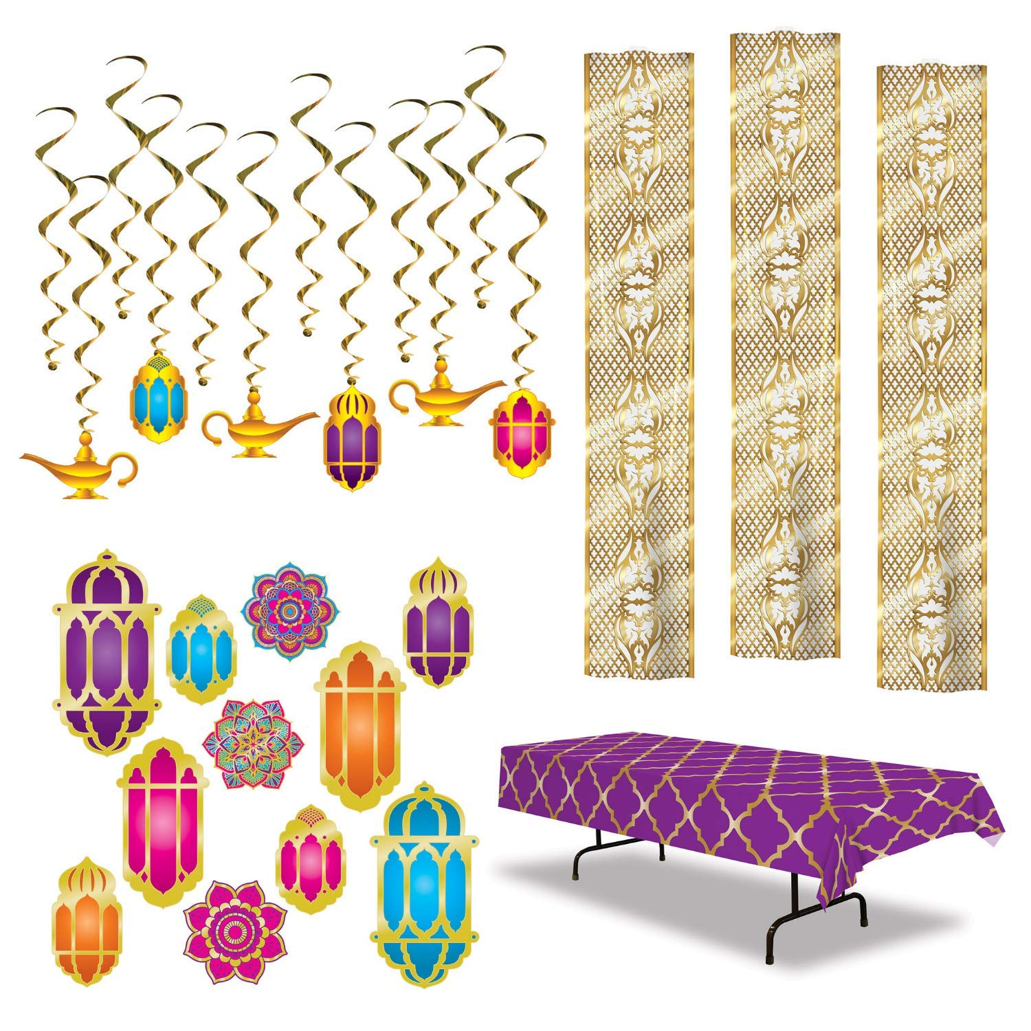 Arabian Nights Decorations - Magical Moroccan Inspired Party Decor (24 Pieces) by FAKKOS Design