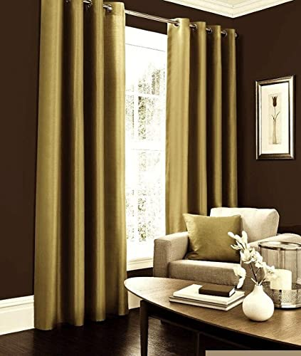 IHF Faux Silk Dupioni Solid Textured Lined Grommet Eyelet Panels Curtains Drapes Gold