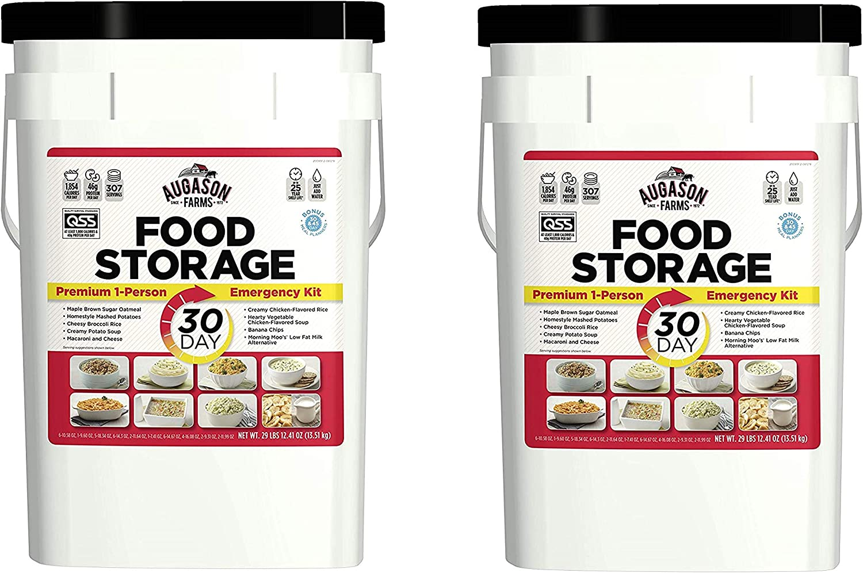 Augason Farms 30-Day Emergency Food Storage Supply 29 lb 4.37 oz 8.5 Gallon Pail (Pack of 2)