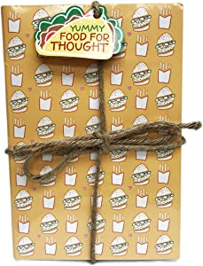 Yummy Food for Thought Foodie Themed 3 Pack Lined Paged Novelty Journal Notebooks 8.5