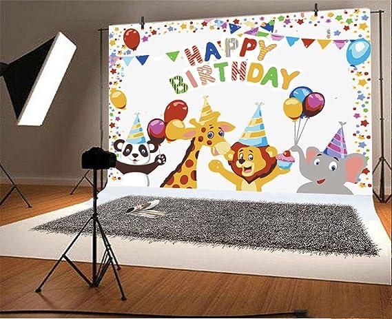 7x5ft Cartoon Backdrop Play Animals Good Friend Rainbow Balloons Trees Bunny Sunflowers Newborn Baby Children Photography Photo Background Studio Props