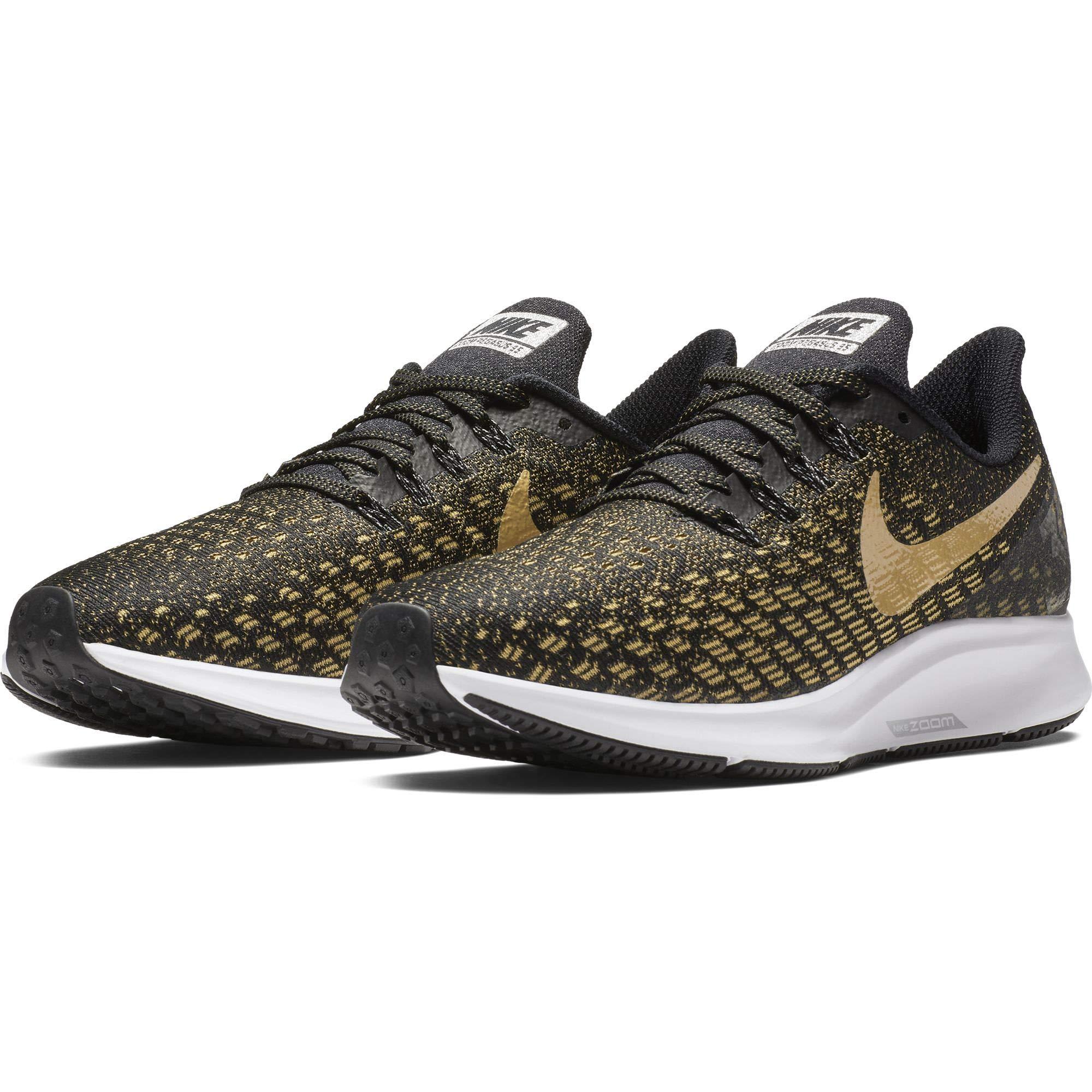 0bb91de1d3ee Galleon - Nike Women s Zoom Pegasus 35 Running Shoe Black Metallic  Gold Wheat Gold Size 7 M US