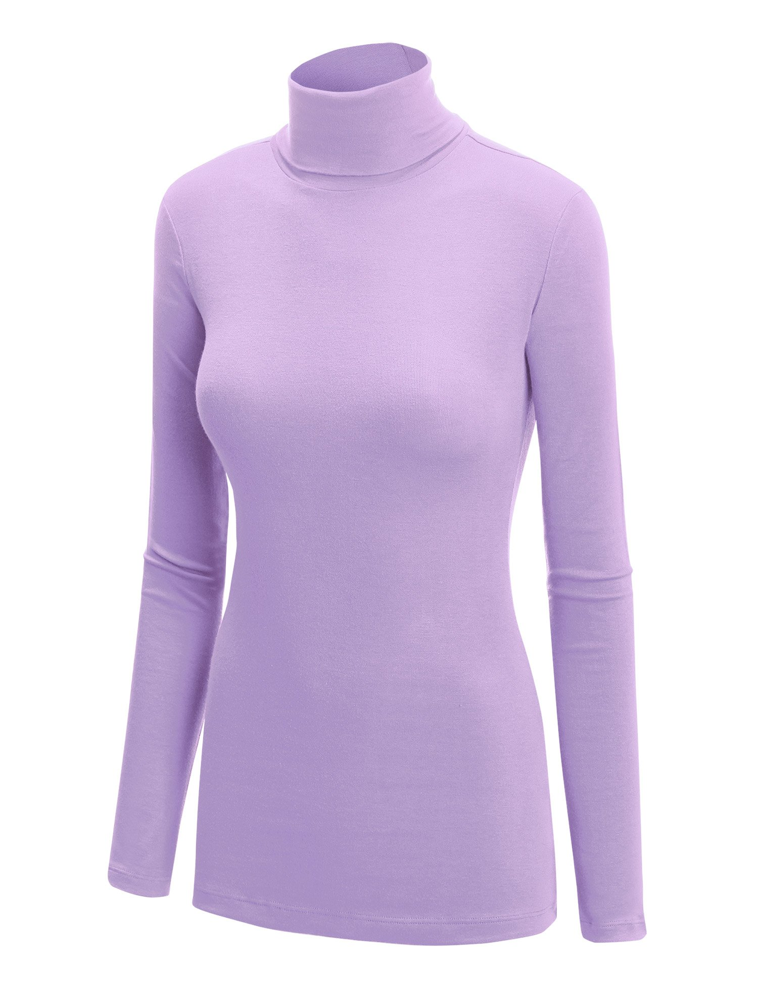 WT950 Womens Long Sleeve Rib Turtleneck Top Pullover Sweater XXL Lilac