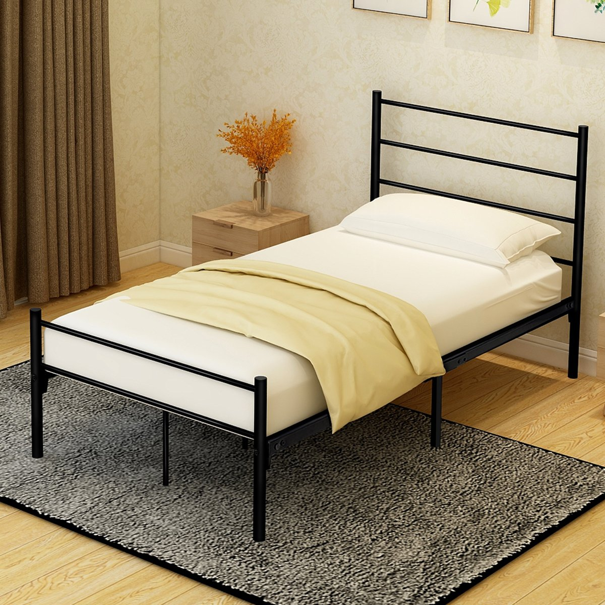 BUFF HOME Metal Bed Frame Platform with Headboards and Footboards Mattress Foundation Steel Slat Support Bases Single No Assembly Box Spring Replacement for Kids Adult Beds Black Twin Size