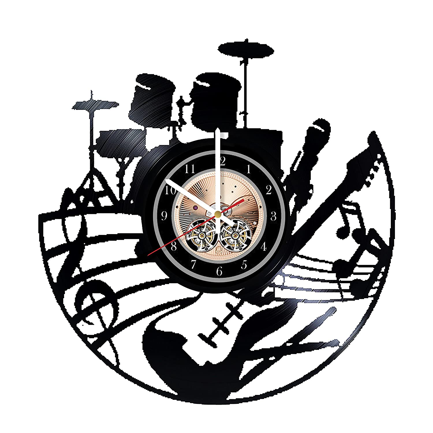 Musical Instruments HANDMADE Vinyl Record Wall Clock - Get unique bedroom or living room wall decor - Gift ideas for him and her