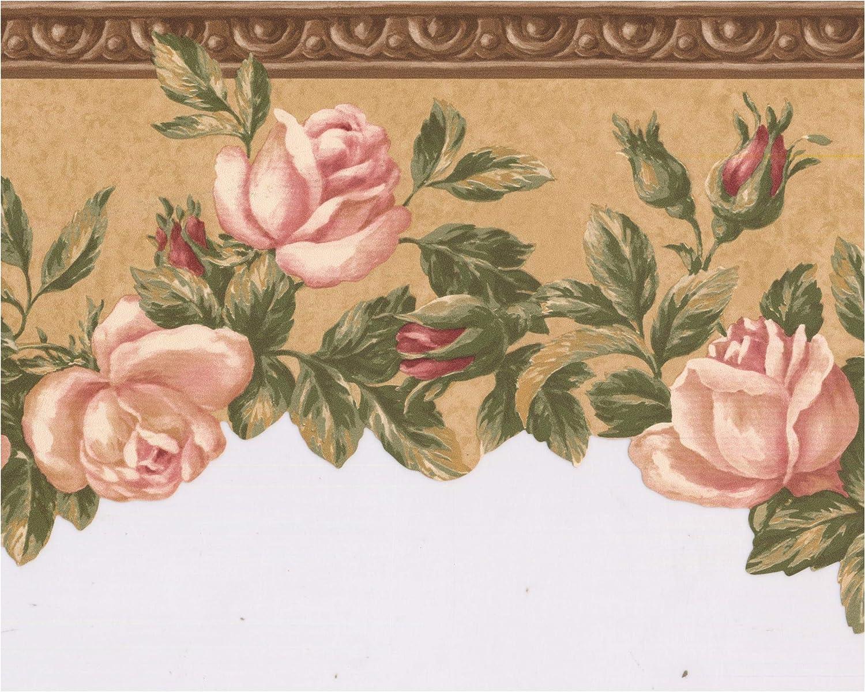 Amazon Com Prepasted Wallpaper Border Bloomed Roses On Vine
