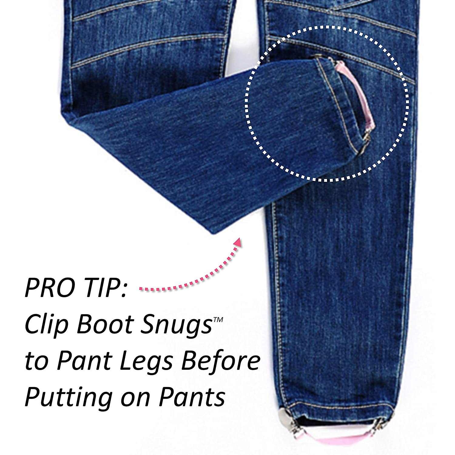 Black-3 Boot Straps Boot Snugs Pant Clips The Original Boot Clips Pant Stirrups for Smooth Jeans in Boots