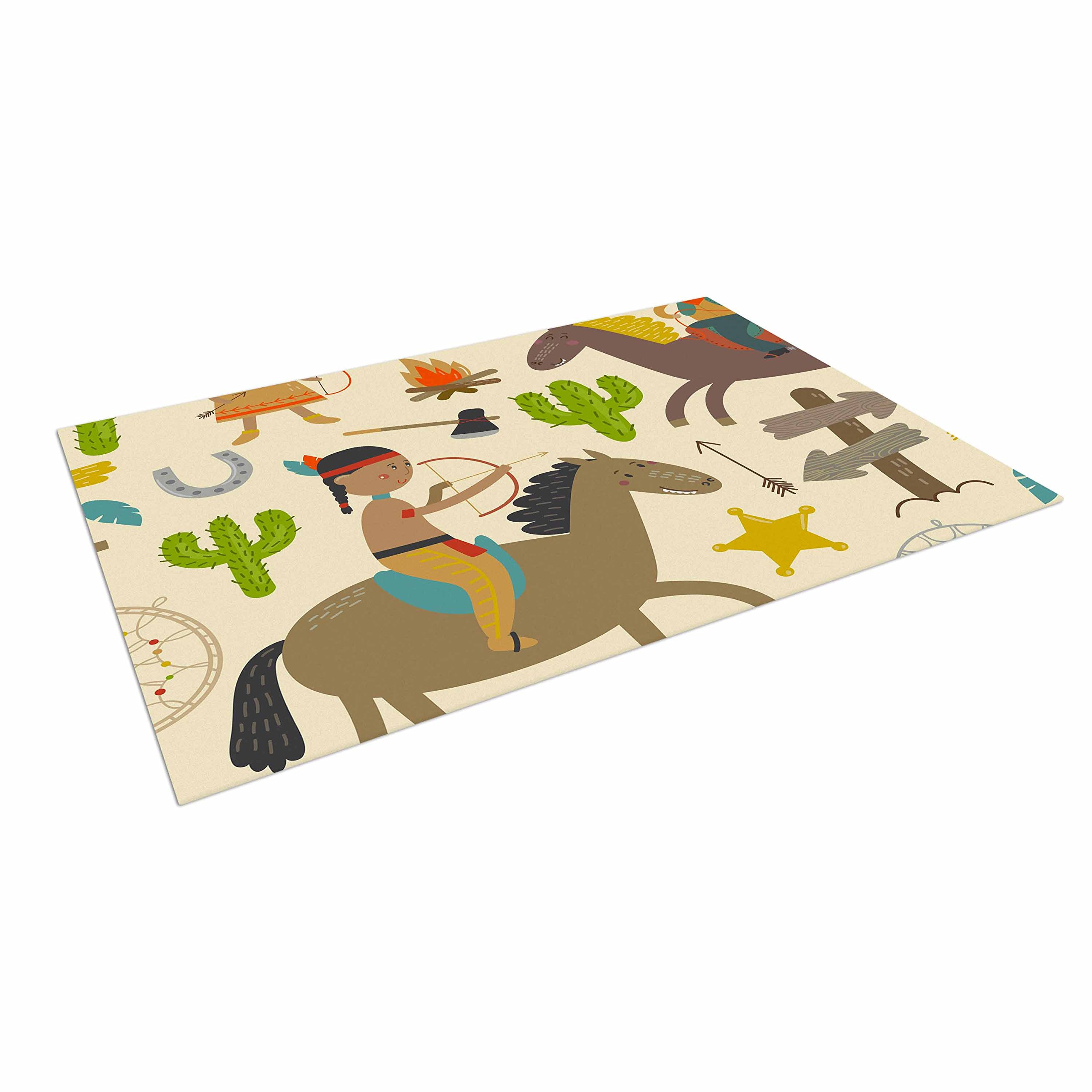 KESS InHouse Petit Griffin ''Tipi'' Brown Kids Outdoor Floor Mat, 4' x 5'