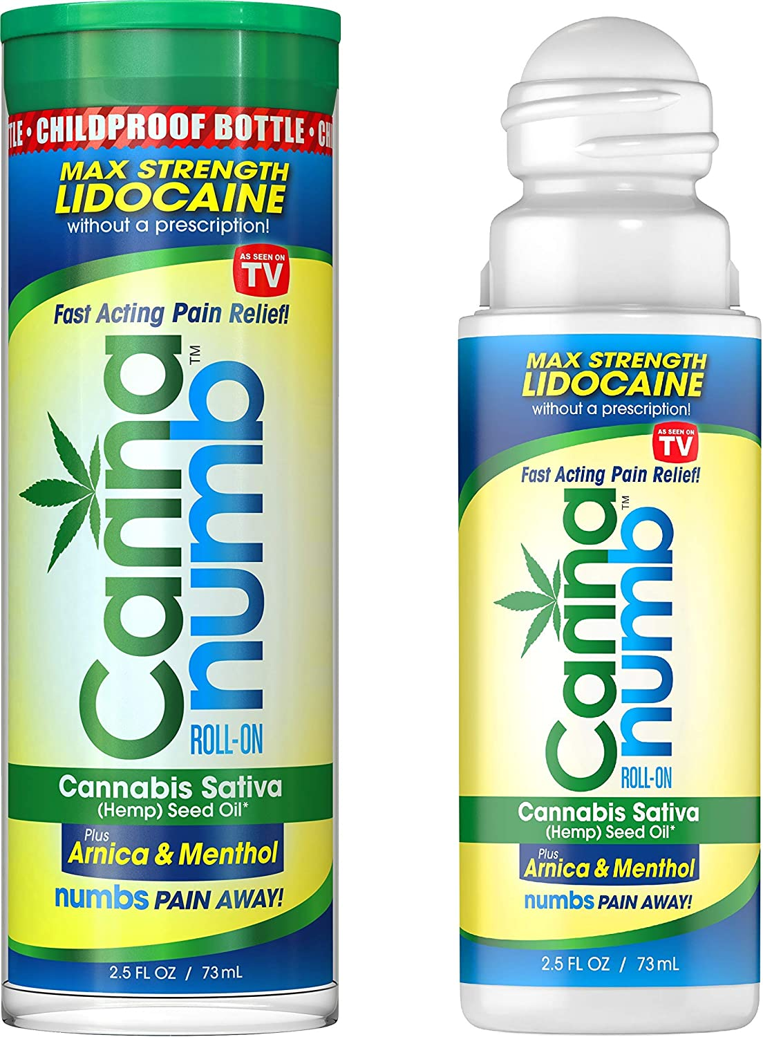 Cannanumb Pain Relief Liquid Roll-On, FDA Registered, Certified Organic Cannabis Sativa (Hemp) Seed Oil, Formulated with 4% Lidocaine and 1% Menthol to Rapidly Relieve Muscle Aches and Joint Pain