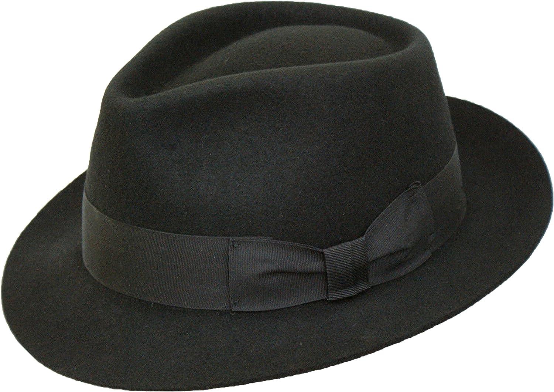 61cm XL Gents 100/% Wool Hand Made Black Manhattan Felt Fedora Trilby Hat with Wide Band