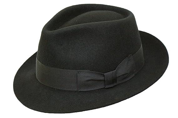 Gents 100% Wool Hand Made Black Manhattan Felt Fedora Trilby Hat With Wide  Band ( d1dd78316003