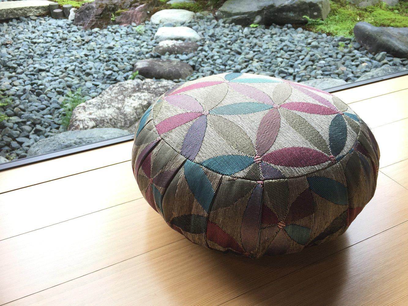 ヨガ座布団、yogaクッション 「瞑想の座禅座布団兼用」日本製30cm, グレー(花) B01MRV3ZZR 30cm|グレー(花) グレー(花) 30cm