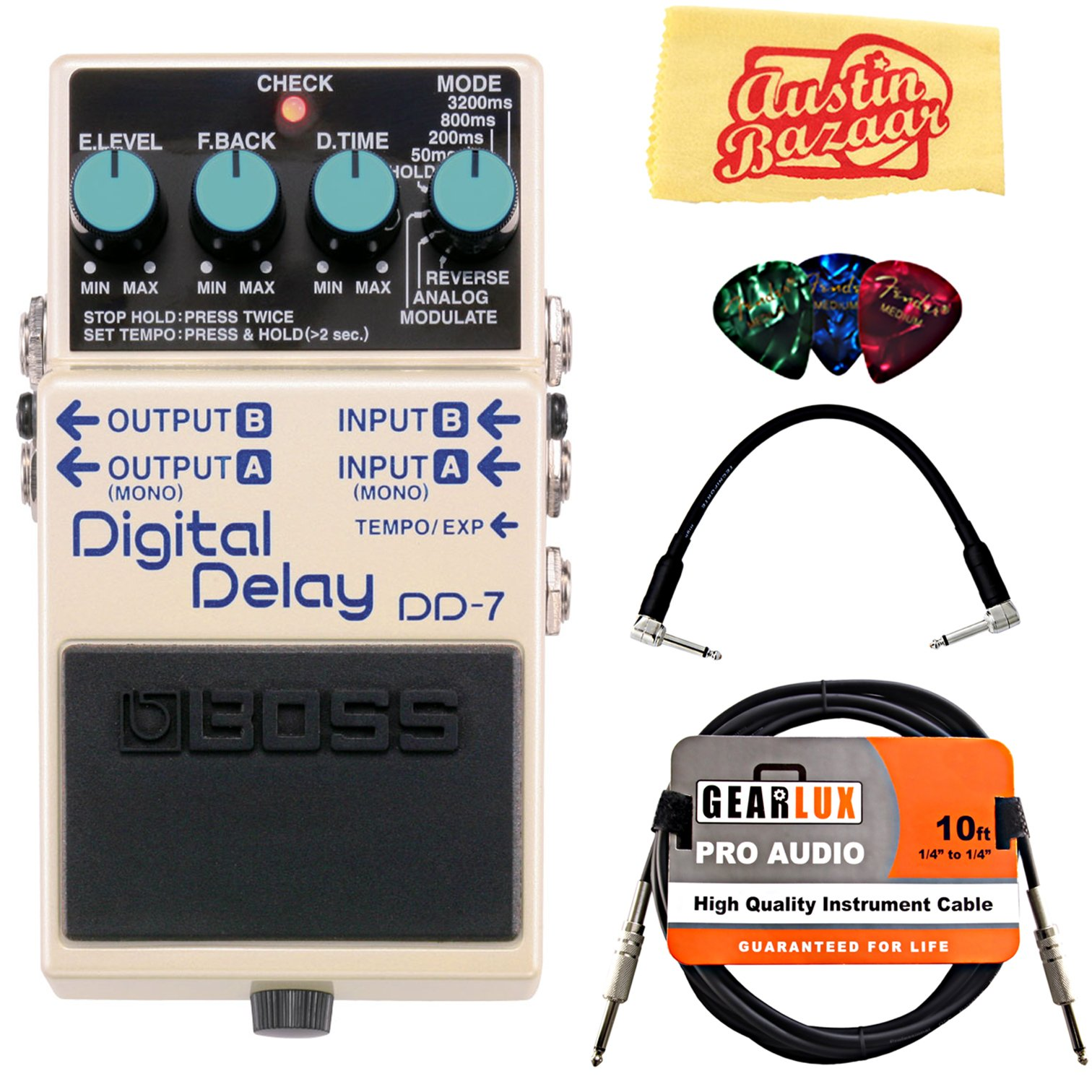 Boss DD-7 Digital Delay Guitar Effects Pedal Bundle with Gearlux Instrument Cable, Patch Cable, Picks, and Polishing Cloth by BOSS