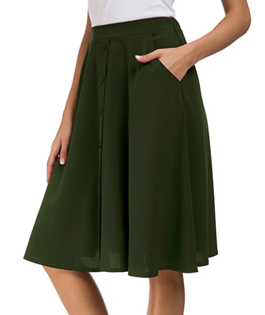 d21feabc25 Afibi Women's High Waisted A Line Pleated Midi Skirt Button Front Skirts  with Pocket (Small