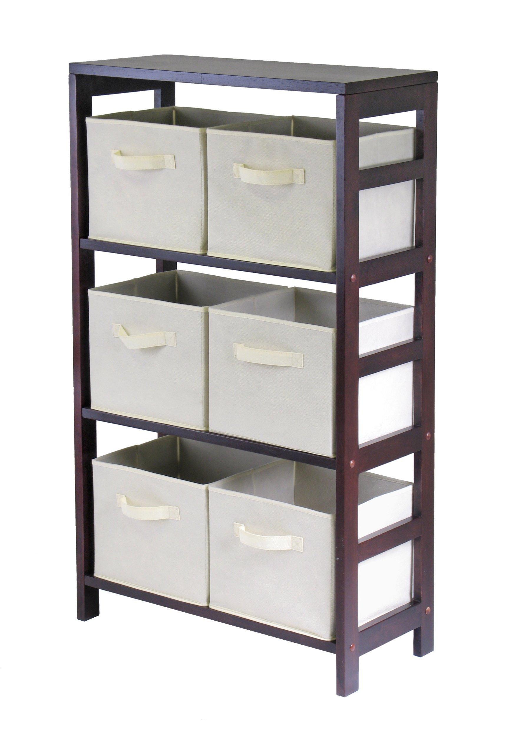 Winsome Wood Capri Wood 3 Section Storage Shelf with 6 Beige Fabric Foldable Baskets