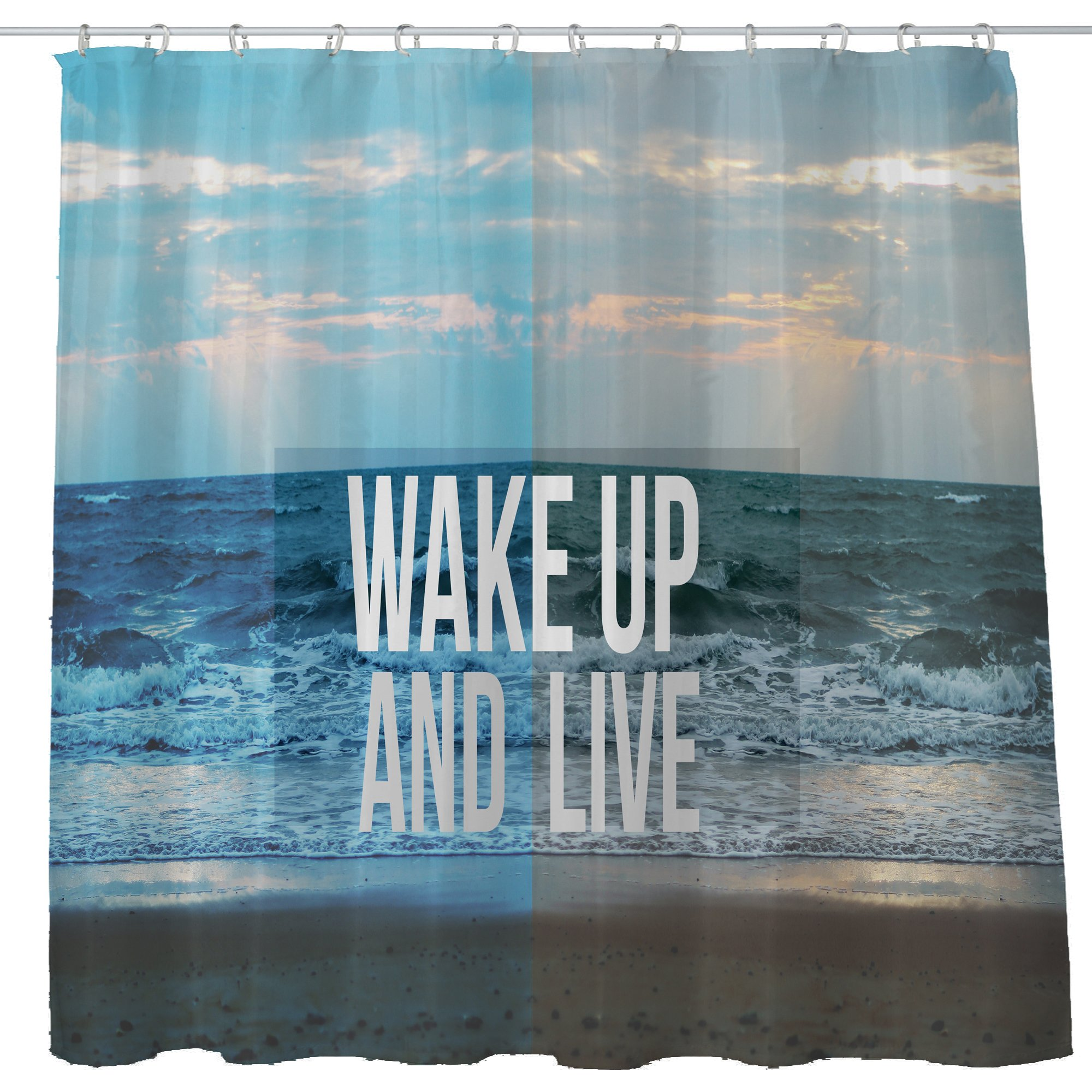 Shower Curtain Cloth Fabric Waterproof Non-Toxic Polyester Decor Washing Room 12 Self Grommets Plastic Rings Landscape Motivational Self Positive Girl Quotes Wake Up And Live 72x72 (180x180cm) (10) by DJSBZ