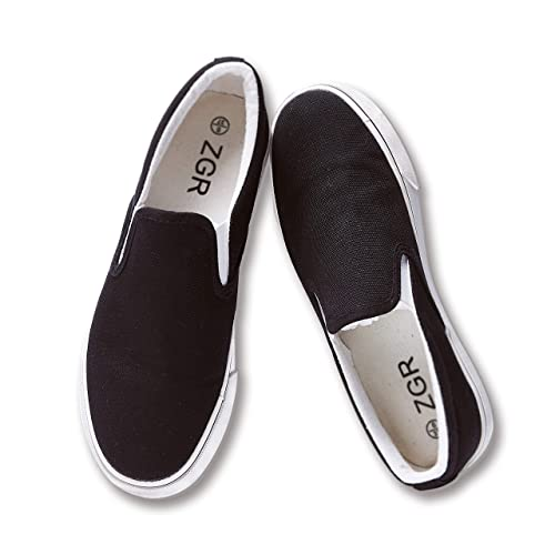 795b678d7cbce ZGR Womens Slip on Fashion Sneakers Black White Canvas Loafer Shoes Sneaker
