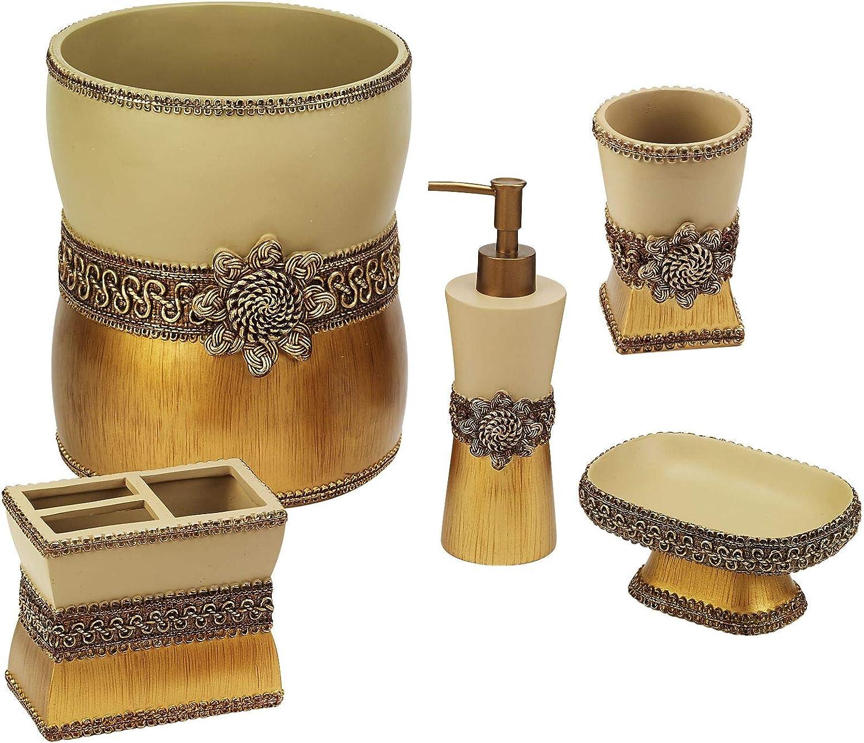 Avanti Linens Braided Medallion 5 Piece Bath Accessory Set - Gold Tumbler, Toothbrush Holder, Soap Dish, Loption Pump, Wastebasket, Multicolor