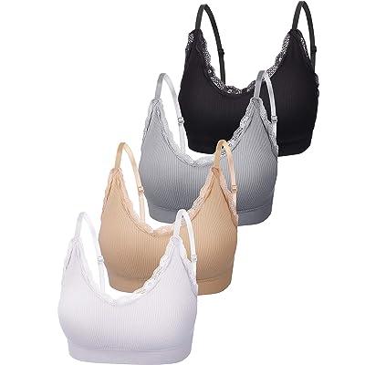 4 Pieces V Neck Cami Bra Padded Seamless Bralette Straps Sleeping Bra for Women Girls at Amazon Women's Clothing store