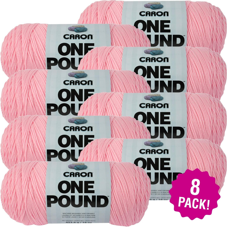 Caron 99581 One Pound Yarn-Soft Pink, Mutlipack of 8, Pack