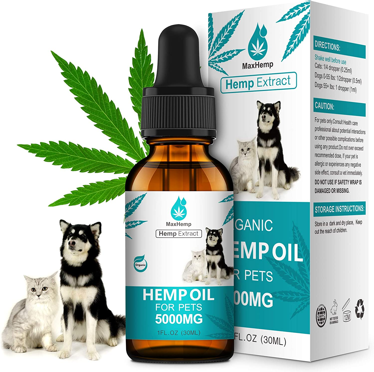 MaxHemp Organic Hemp Oil for Dogs and Cats - Anxiety and Pain Relief - Mind Calming - Supports Hip & Joint Health - 100% Natural, Non-GMO