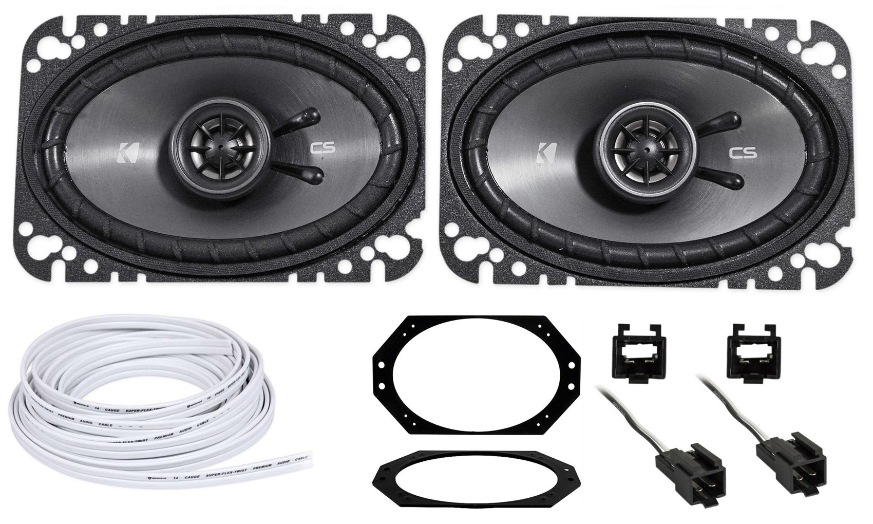 Kicker CSC 4X6'' Front Factory Speaker + Wire For 1997-2002 Jeep Wrangler Tj