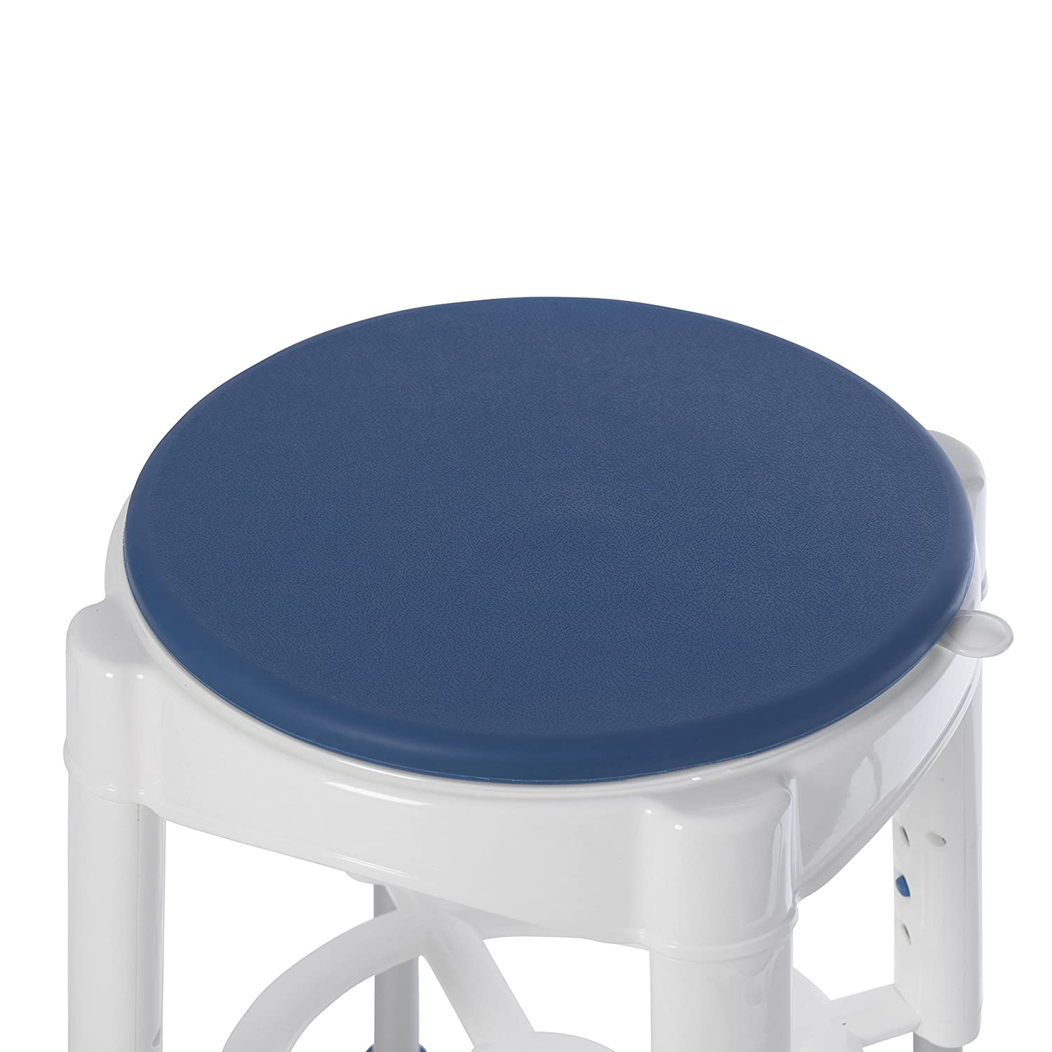 Drive Medical Bath Stool with Padded Rotating Seat, White/Blue ...