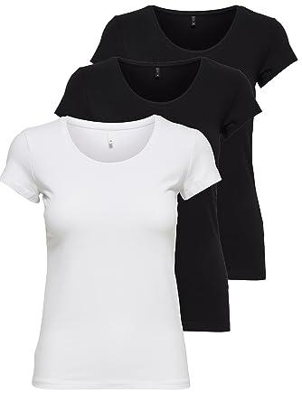 7be80a6801f30c ONLY 3er Pack Damen T-Shirt schwarz oder weiß Kurzarm lang Basic Sommer T-