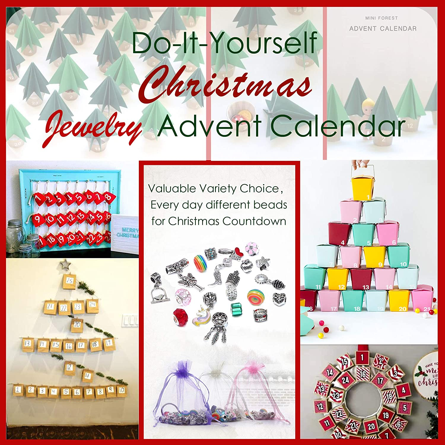 Jewelry Making Kit Charms Bracelets for Making DIY Jewelry Advent Calendar Party Favor Craft Birthday Gifts for Teens Girls DIY Charm Bracelet Making Kit