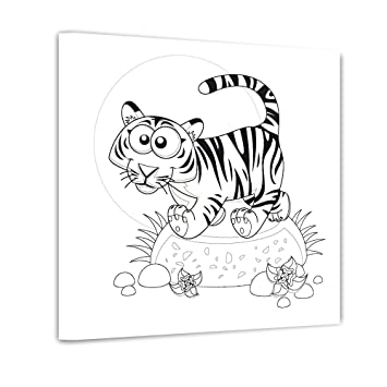 Bilderdepot24 Tiger - Ausmalbild auf Leinwand, aufgespannt auf ...