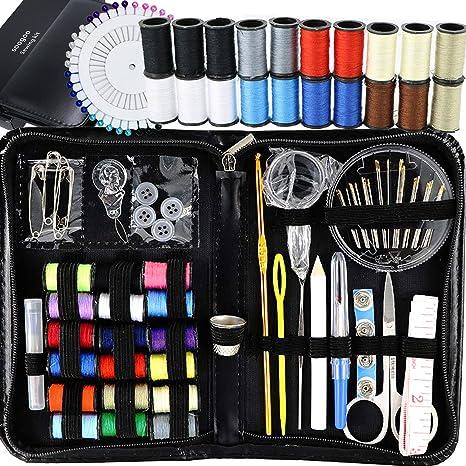 Mini Set de costura para el hogar, viajes, Camping y emergencia, para niños, niñas principiantes y adultos suministros de costura con tijeras, dedal, hilo, agujas, cinta métrica y accesorios: Amazon.es: Juguetes y