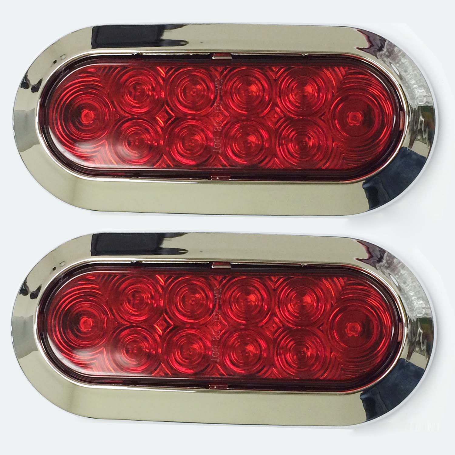 Set Of 2 Surface Mount Red 6 Oval 10 Led Trailer Truck Also Tail Lights Along With Wiring Stop Turn Light W Chrome Trim 24029 Automotive
