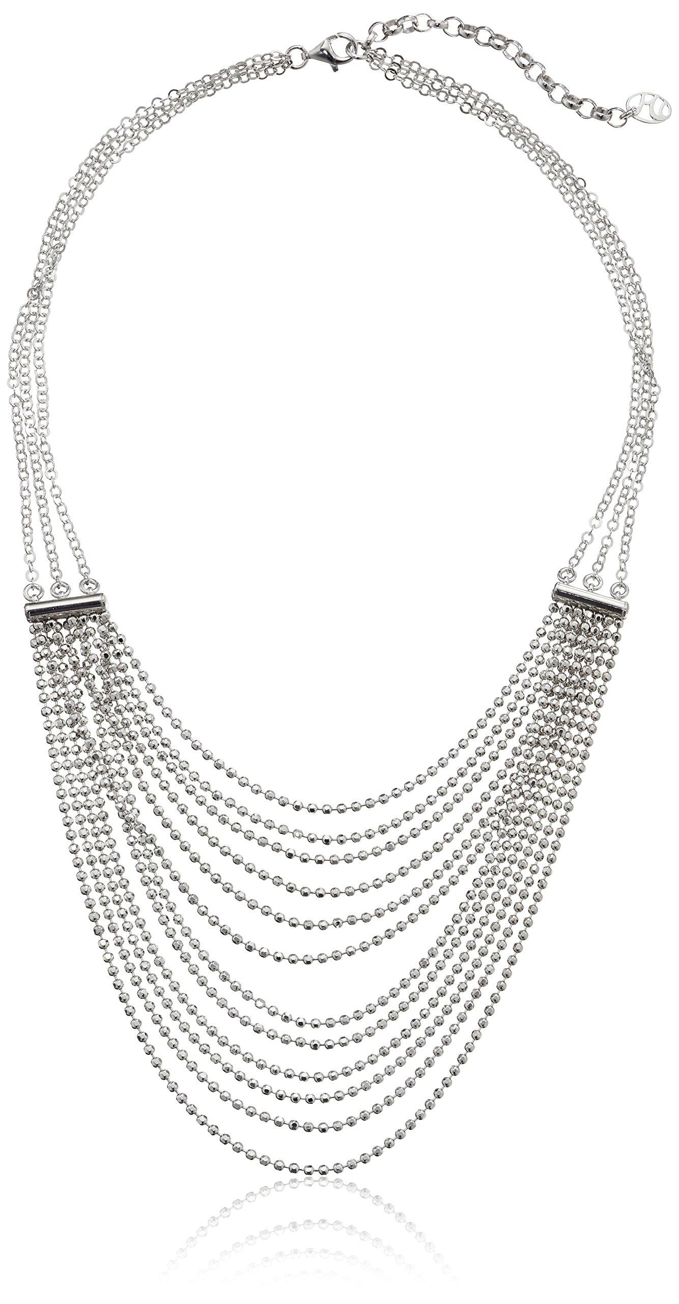 Italian Rhodium-Plated Silver Multi-Strand Diamond Cut Bead Necklace, 18''