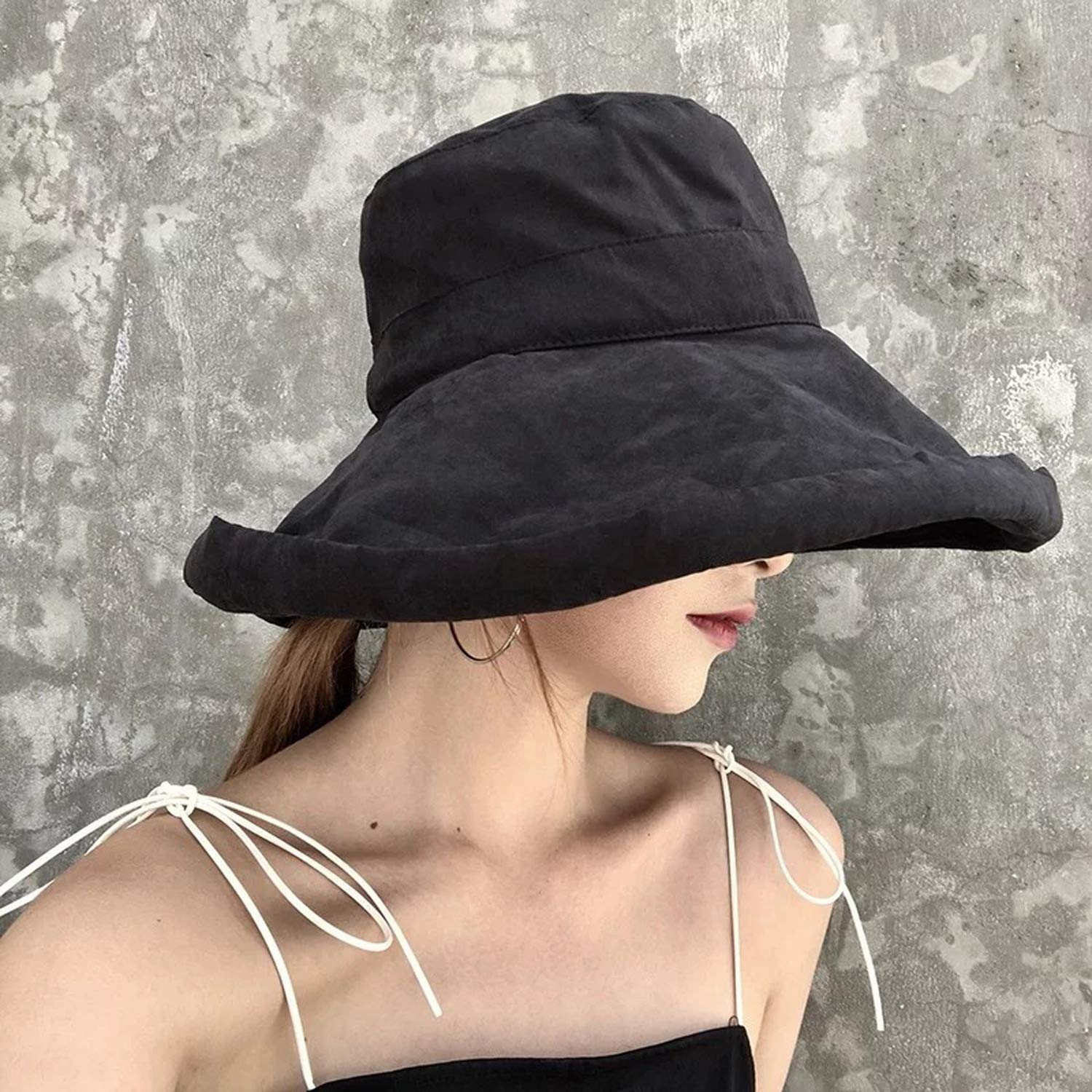 Bucket Hats Women Wide Brim Sunscreen Summer Solid Elegant Womens Fisherman Hat All-Match Leisure Trendy Retro Chic