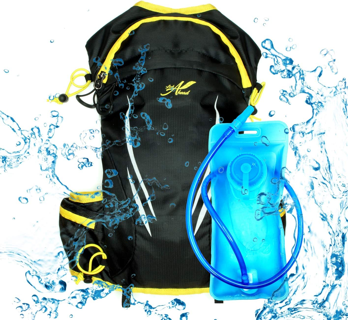 lookahead Hydration Backpack Pack with 1,5L BPA Free Bladder Women Waterproof Hiking Backpack for Men GIFT Bandana Running,Cycling,Camping,Trekking,Outdoors