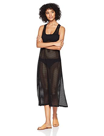 4936c67577 Calvin Klein Women's Solid Maxi Crochet Racerback Cover Up Tank Dress at  Amazon Women's Clothing store: