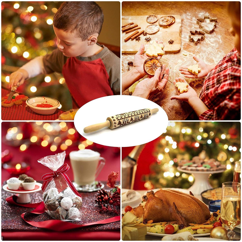 ANSIOR 7 Pcs Teigroller mit Prägung Weihnachten Elch Mustern ...
