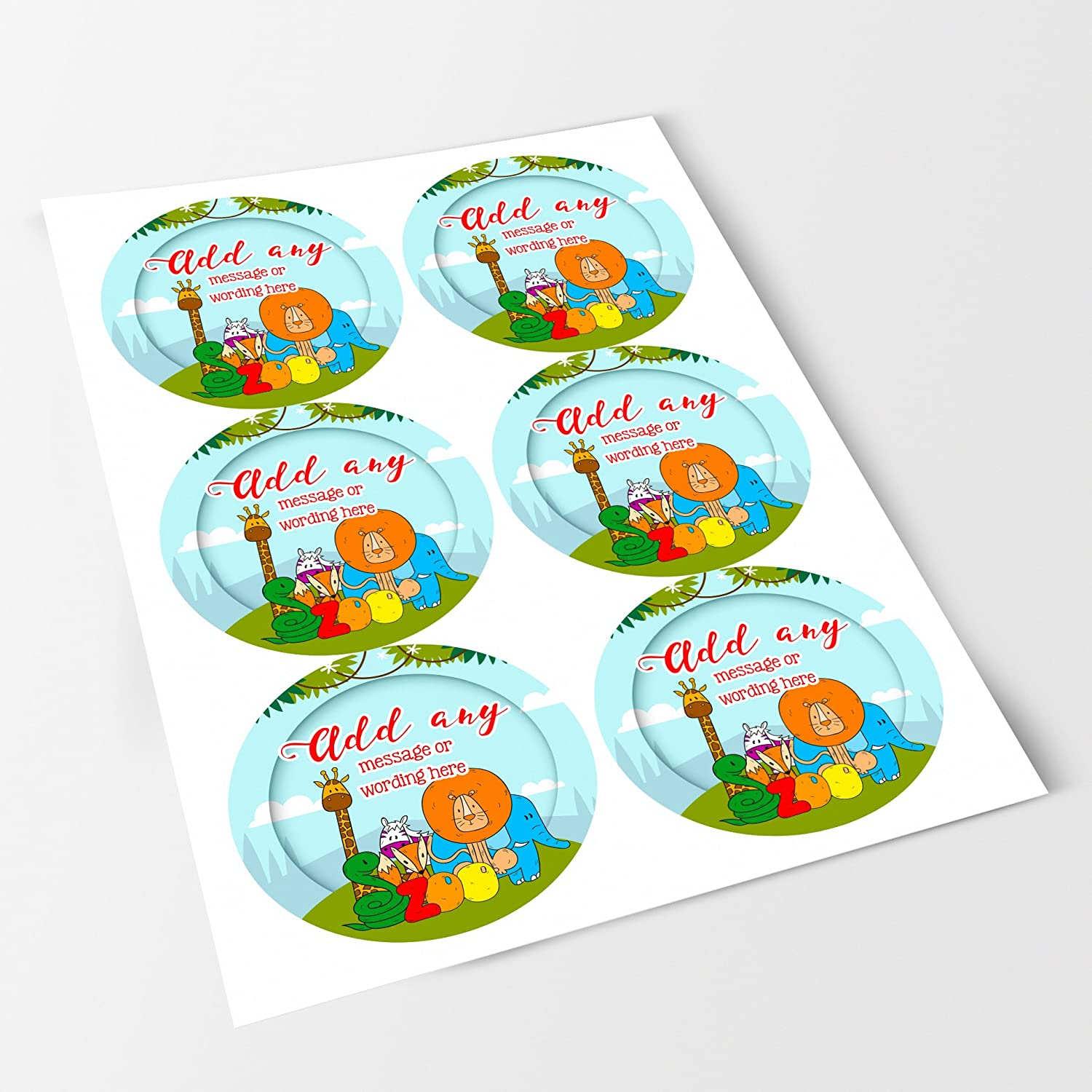 Sweet Cones Jars Bottles Presentations Gift Boxes Favours Crafts Jungle Zoo Animals Sticker Labels Personalised Seals Ideal for Party Bags