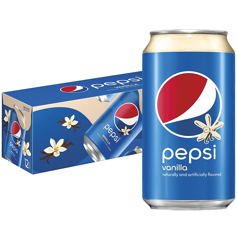 Pepsi Vanilla 12oz Cans Pack, vanilla,cola, 144 Fl Oz, (Pack of 12)